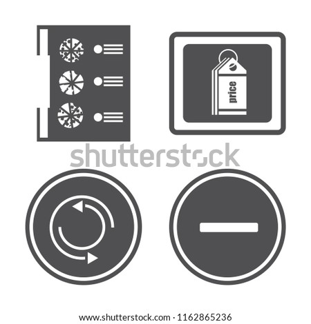 Set of 4 vector icons such as Menu, Price tag, Repeat, Substract, web UI editable icon pack, pixel perfect