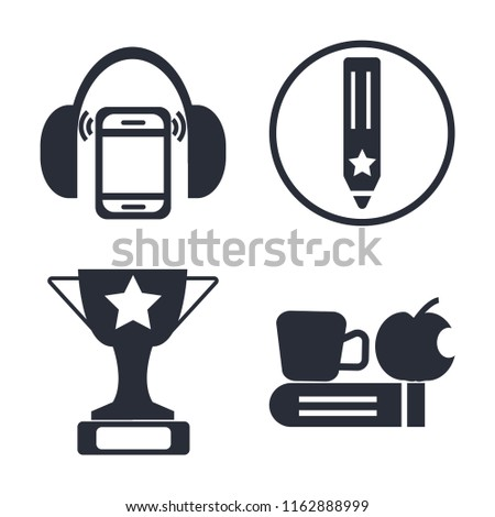 Set of 4 vector icons such as Mp3 player with headphones, Pencil, Trophy, Time to have a break, web UI editable icon pack, pixel perfect