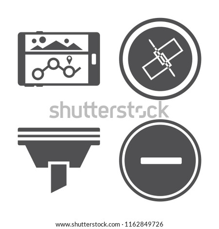 Set of 4 vector icons such as Navigation, Unlink, Funnel, Substract, web UI editable icon pack, pixel perfect