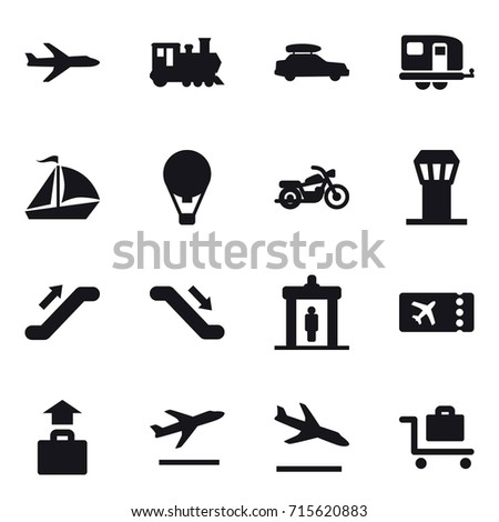 Set of vector icons such as plane, train, car baggage, trailer, sail boat, air ballon, motorcycle, airport tower, escalator, escalator, detector, ticket, baggage, departure, arrival, baggage trolley