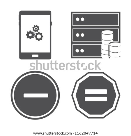 Set of 4 vector icons such as Smartphone, Database, Substract, Equal, web UI editable icon pack, pixel perfect