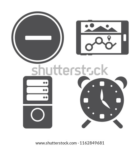 Set of 4 vector icons such as Substract, Navigation, Server, Alarm, web UI editable icon pack, pixel perfect