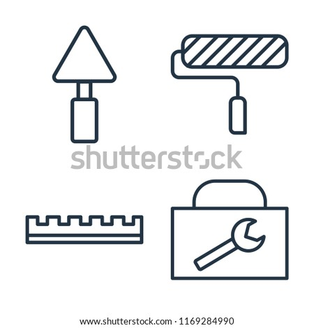 Set of 4 vector icons such as Trowel, Paint roller, Ruler, Toolbox, web UI editable icon pack, pixel perfect