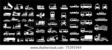 Set of vector icons - transportation symbols. White on black. Cars, vehicles, ships, planes. Car body.
