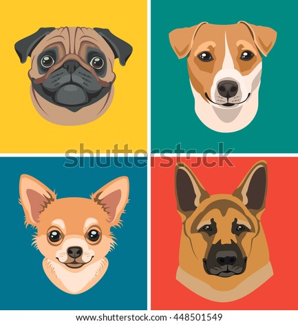 Set of vector icons with the image of dogs