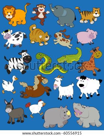 Set of vector illustrated animals - children style