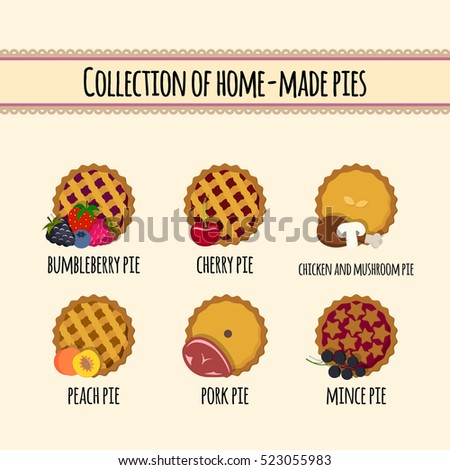 set of vector illustration of homemade pies with different fillings. great for bakery, pastry, confectionery menu design. good for homemade pies labels. comfort food concept.