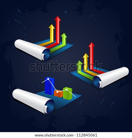 set of vector illustration roll of blue paper with colorful graph or diagram with arrows