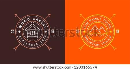 Set of Vector illustration Vintage logo with Wooden cabin. Moutains Sign. Retro print design, stamp. T-shirts, Poster Design.