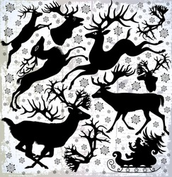 Set of vector illustration with deers silhouettes on an abstract background.