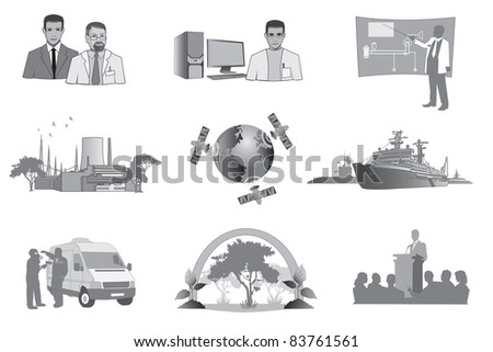 Set of vector illustrations for science, nuclear power and ecology