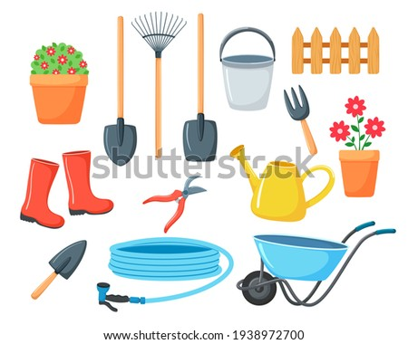 Set of vector illustrations for the garden. collection of items for agriculture in cartoon style. Isolated on white background. Watering can, boots, garden wheelbarrow, shovels, flowers, hose, bucket  Stock photo ©