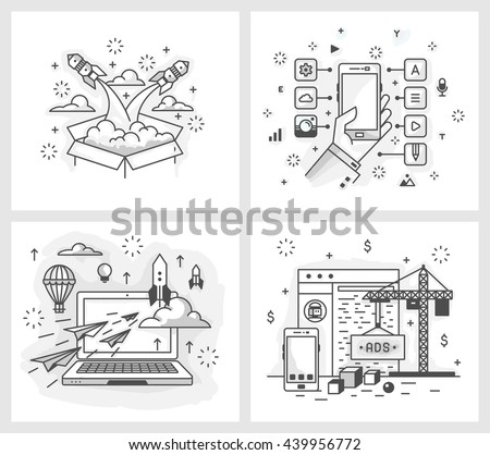Set of vector illustrations in modern linear style, the launch of the project, a list of applications, detailed design, site development,