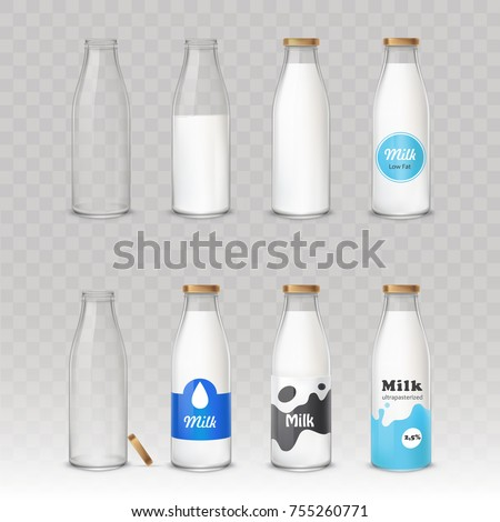 Set of vector illustrations in realistic style glass bottles with milk and without with different labels isolated on gray. Package mockup design ready for branding.
