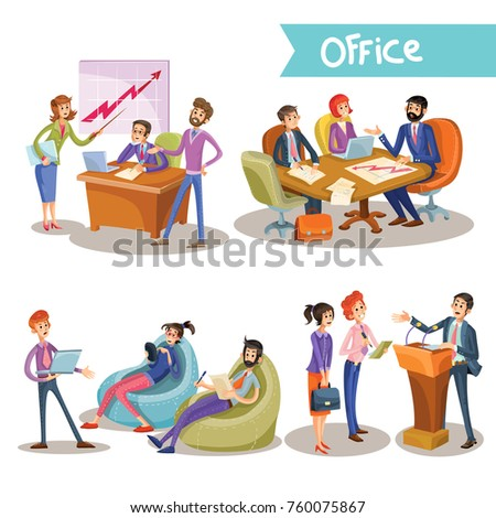 Set of vector illustrations of a businessman with his subordinates, partners, holding negotiations, studying diagrams, isolated on white background in cartoon style.