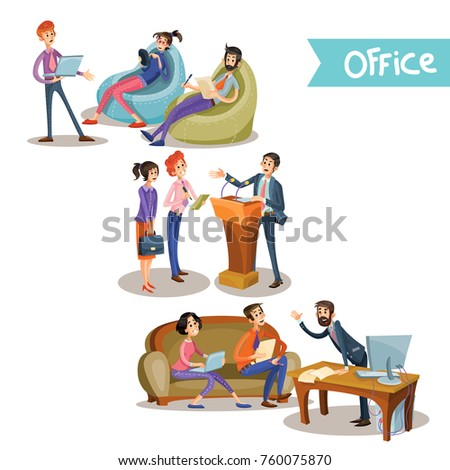 Set of vector illustrations of a leader with subordinate office workers holding negotiations behind the tribune, at the table and sitting on the couch isolated on white background in cartoon style.