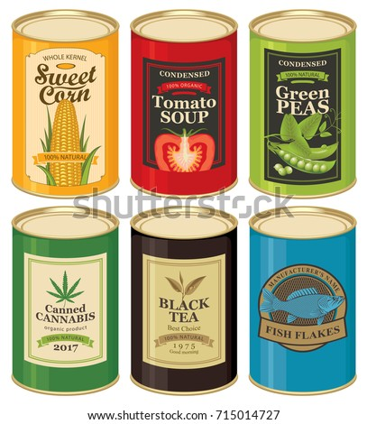 Set of vector illustrations of a tin cans with labels of sweet corn, tomato soup, green peas, canned cannabis, black tea and fish flakes