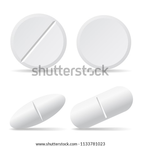 Set of vector illustrations of drug pills with shadows, round and oval - isolated on white background
