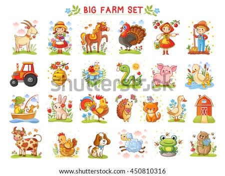 Set of vector illustrations of farm animals. A collection of farm animals and wild animals. A Big farm.