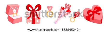 Set of vector illustrations of funny valentines day characters. A gift with a bow, a diamond ring, a bouquet of flowers, a box of chocolates in the form of a heart. Funny set of stickers or icons