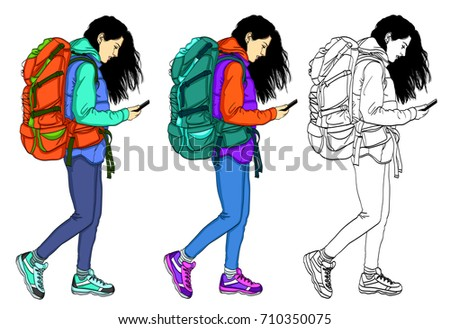 Set of vector illustrations of girls in casual, comfortable clothes. Girl with mobile phone on white background