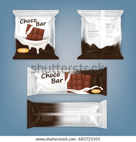 Set of vector illustrations of packing for chocolate bars, front and back, isolated. Used as a package template, design element