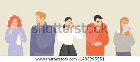 Set of vector illustrations of people suffering from various symptoms of the common cold and flu. Characters with headache and ear pain, runny nose and cough are isolated on a light background