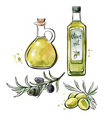 Set of vector illustrations Olive oil. Hand drawn green and black olives with leaves, glass bottle and pitcher. Black outline and bright watercolor texture isolated on white background.