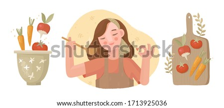 """Set of vector illustrations on a culinary theme. Hand drawn vegetables on a cutting board and in a bowl. Cooking soup, salad. Vegan dishes. The girl is cooking. Approving gesture """"ok"""", chef, gourmet."""
