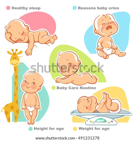 Set of vector illustrations with cute little babies. Sleeping baby, crying baby, happy baby,  newborn lying on stomach, baby on scales, baby near growth meter. Baby growth and care design template.