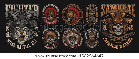 Set of vector illustrations with skulls warriors such us; spartan, samurai viking and others. Perfect for shirt prints, logos and many other.