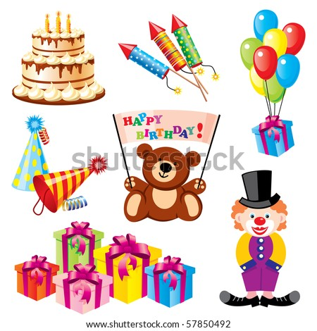 set of vector images for birthday and other children's holidays