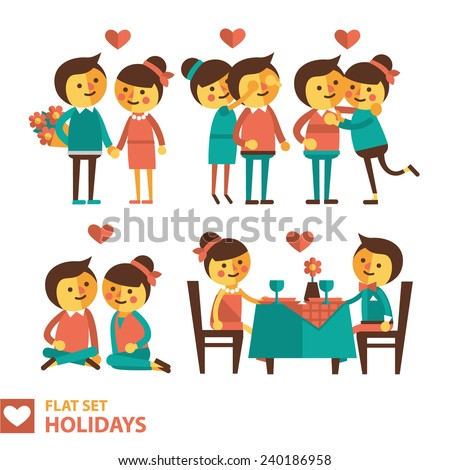set of vector images of couples