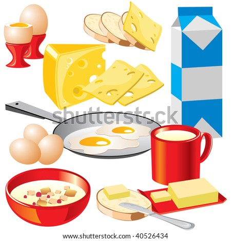 set of vector images of dairy products for your design.