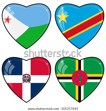 Set of vector images of hearts with the flags of Congo, Djibouti, Dominica, Dominican Republic