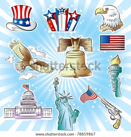 Set of vector images on Independence Day theme - stock vector