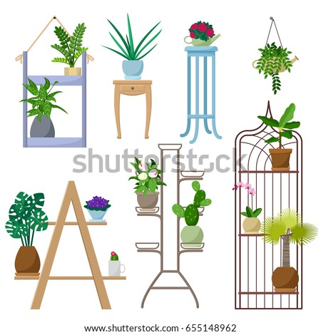 set of vector indoor plants on