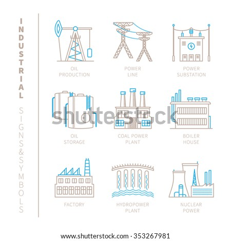 set of vector industrial icons