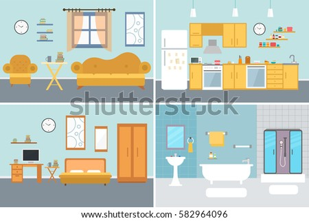 living room bedroom bathroom kitchen royalty free furniture set for rooms of house flat 18975