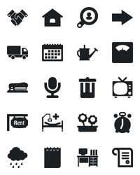 Set of vector isolated black icon - alarm clock vector, trash bin, tv, right arrow, desk, notepad, watering can, rain, scales, hospital bed, car delivery, microphone, calendar, handshake, stapler