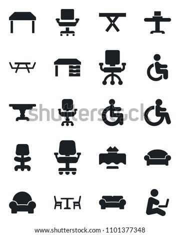 Set of vector isolated black icon - cafe vector, waiting area, disabled, office chair, desk, picnic table, cushioned furniture, restaurant, man with notebook