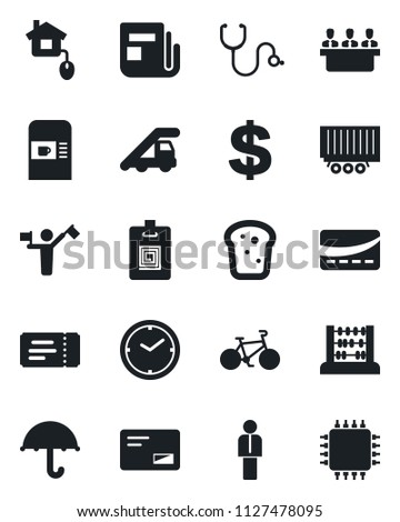 Set of vector isolated black icon - dispatcher vector, coffee machine, ticket, ladder car, manager, dollar sign, abacus, stethoscope, bike, truck trailer, umbrella, news, mail, clock, identity card