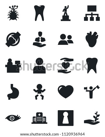Set of vector isolated black icon - dispatcher vector, female, baby, pedestal, manager place, heart hand, stomach, real, tooth, eye, joint, hospital, virus, client, group, user, hierarchy #1120936964