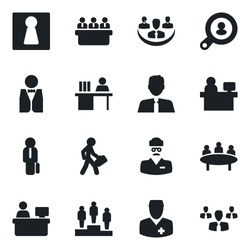 Set of vector isolated black icon - female vector, pedestal, meeting, manager place, doctor, company, desk, client search, estate agent, waiter, group