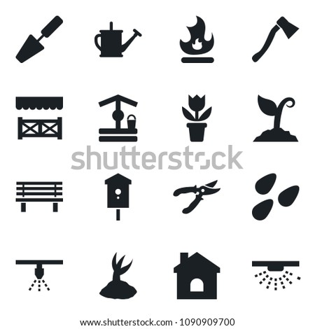 Stock Photo Set of vector isolated black icon - flower in pot vector, trowel, watering can, sproute, pruner, fire, house, well, axe, bench, seeds, bird, alcove, sprinkler