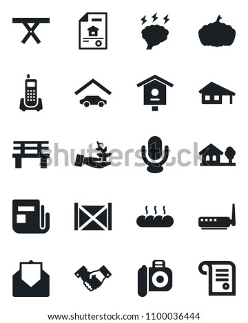 Set of vector isolated black icon - handshake vector, brainstorm, bench, pumpkin, picnic table, bird house, office phone, container, camera, news, microphone, mail, with garage, tree, bread, router