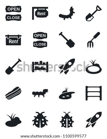 Set of vector isolated black icon - job vector, garden fork, shovel, lady bug, caterpillar, pond, rack, rent, bacon, open close, rocket