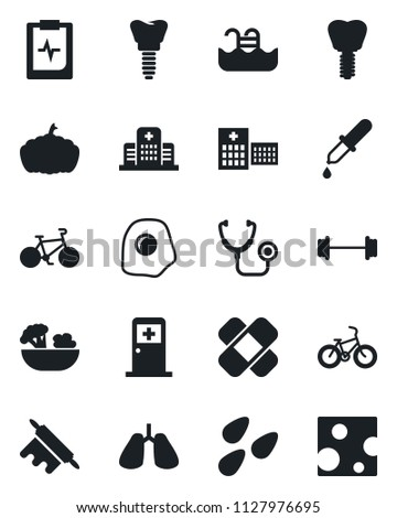 Set of vector isolated black icon - medical room vector, pumpkin, seeds, stethoscope, dropper, patch, barbell, bike, lungs, implant, pulse clipboard, hospital, pool, salad, rolling pin, omelette
