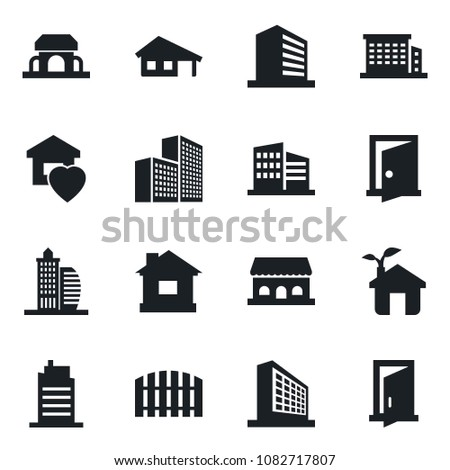 Set of vector isolated black icon - office building vector, house, with garage, fence, sweet home, city, cafe, eco, door