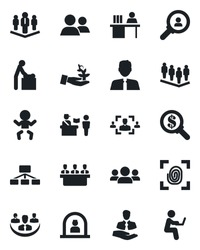Set of vector isolated black icon - passport control vector, baby, room, reception, team, client, group, company, hr, manager desk, meeting, estate agent, fingerprint, consumer search, palm sproute